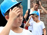 It's tough being a mini me! Ryan Phillippe's son Deacon is his dad's mirror image after they have a family workout session