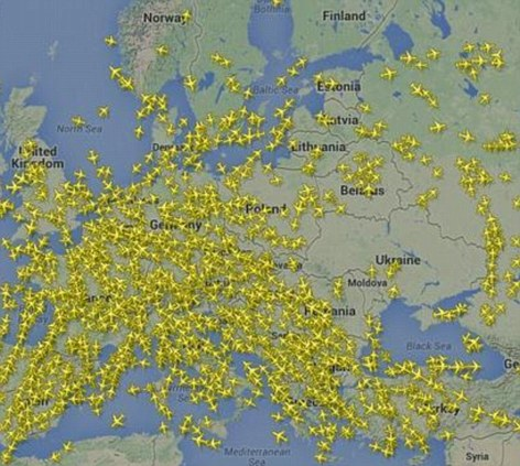 Flight pattern around Ukraine for July 17th, 2014 (via dailymail.co.uk)