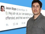 Not showing his best side these days: Jason Biggs, pictured in June after a radio show, called his Twitter followers 'losers' on Thursday after they slammed him for a tasteless joke about the Malaysian airlines disaster that he later deleted