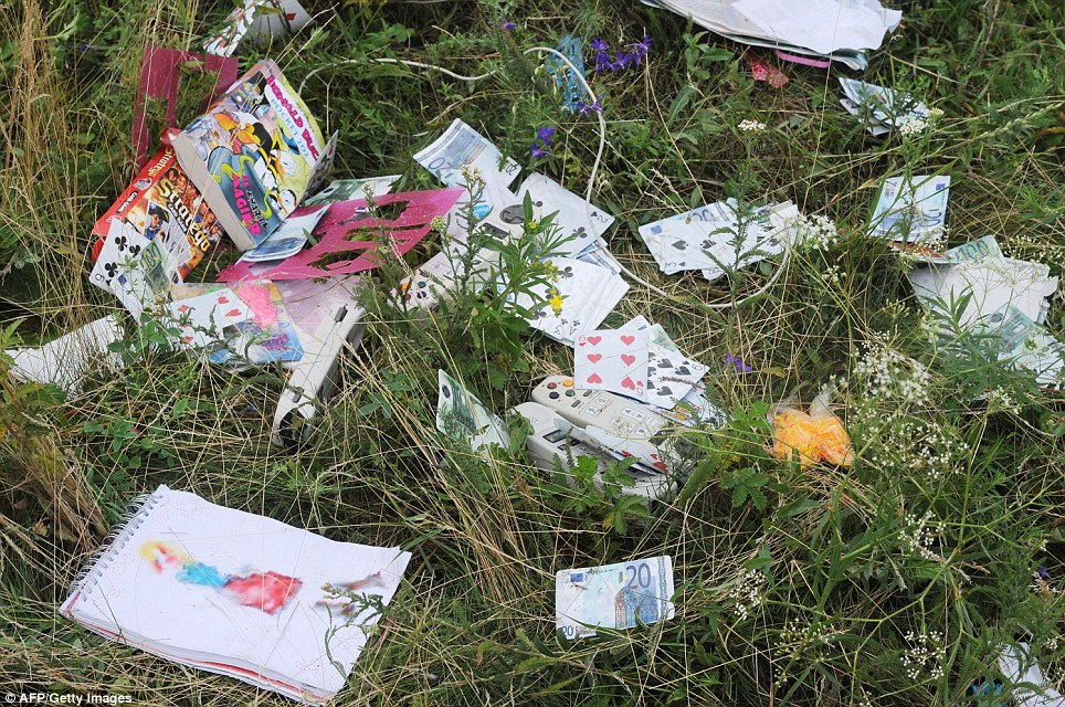 Distressing: Cards, games and money belonging to passengers on MH17 lie strewn across the grass near the town of Shaktarsk, in rebel-held east Ukraine