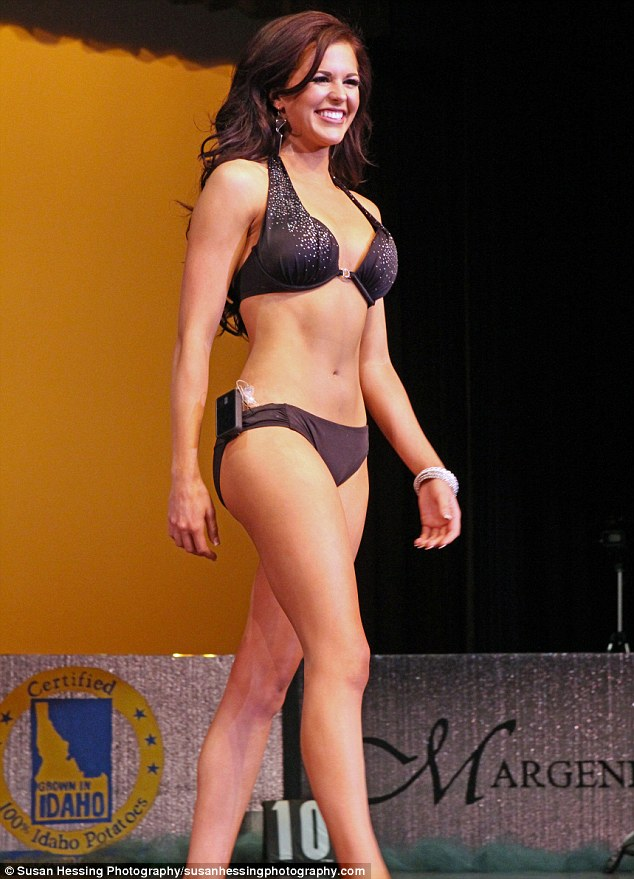 No shame: Sierra Sandison, who was crowned Miss Idaho on Saturday, has become a hero for Type 1 diabetes after she proudly paraded during a swimsuit competition with her insulin pump attatched to her bikini