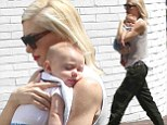 Gwen Stefani, 44, runs errands with her 20-week-old son Apollo on Friday