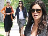 Pregnant Rachel Bilson shows off baby bump in tight asymmetric skirt as she enjoys lunch with her equally stylish mother
