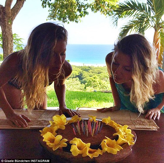 Gisele Bundchen Blows Out Candles On 34th Birthday Cake With Twin Sister Patricia Daily Mail