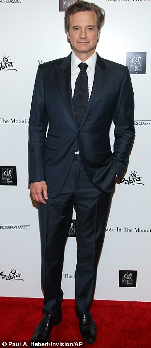 Suited and booted: Colin stars alongside Emma Stone in the comedy film but the actress was absent at Monday's event