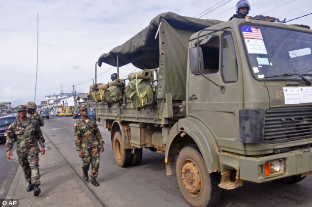 Soldiers have been deployed to the streets of Liberia to prevent panic as fears spread about the deadly virus