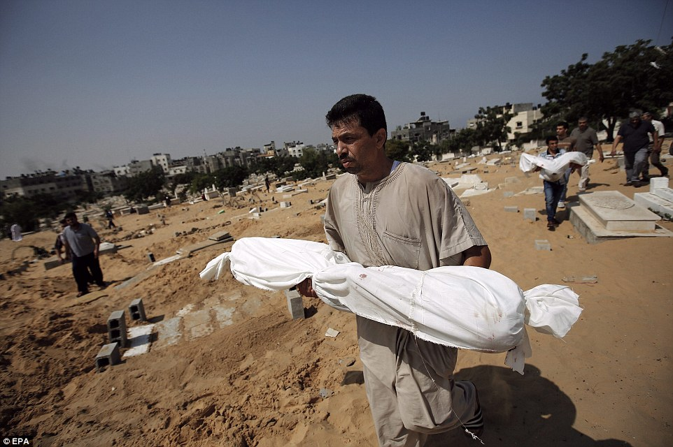Funeral: Palestinians prepare today to bury Mahmud Al-Neirab, who was killed along with his wife and their three children after Israeli air strikes in southern Gaza City