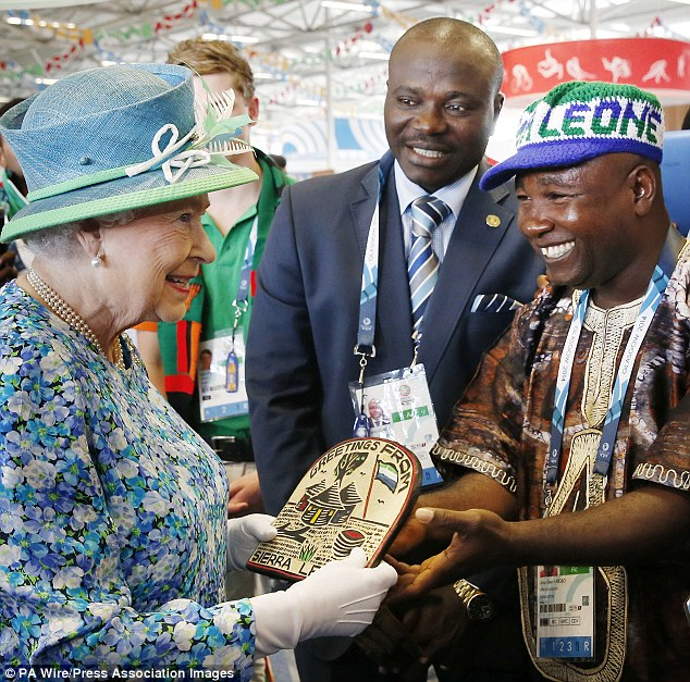 Chef de mission of Sierra Leone's Commonwealth Team Unisa Deen Kargbo, pictured right meeting the Queen at the Games, said some of the atheletes do not want to return to their home country due to the Ebola outbreeak