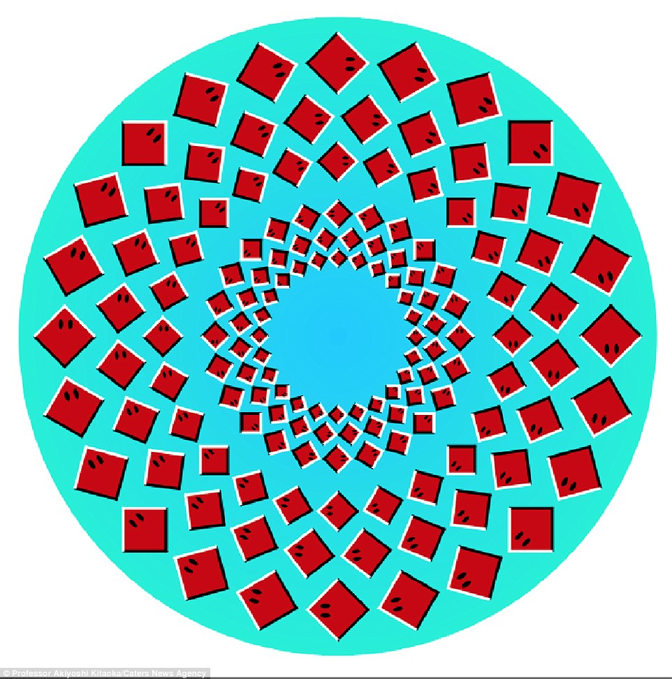 In Rotating Rays (pictured) the central ring of squares rotates anticlockwise as the outer circles of squares move slowly clockwise. Having originally studied animal psychology, Professor Kitaoka, 52, decided to focus on optical illusions after looking into their effect on monkeys, while working at a neuroscience institute