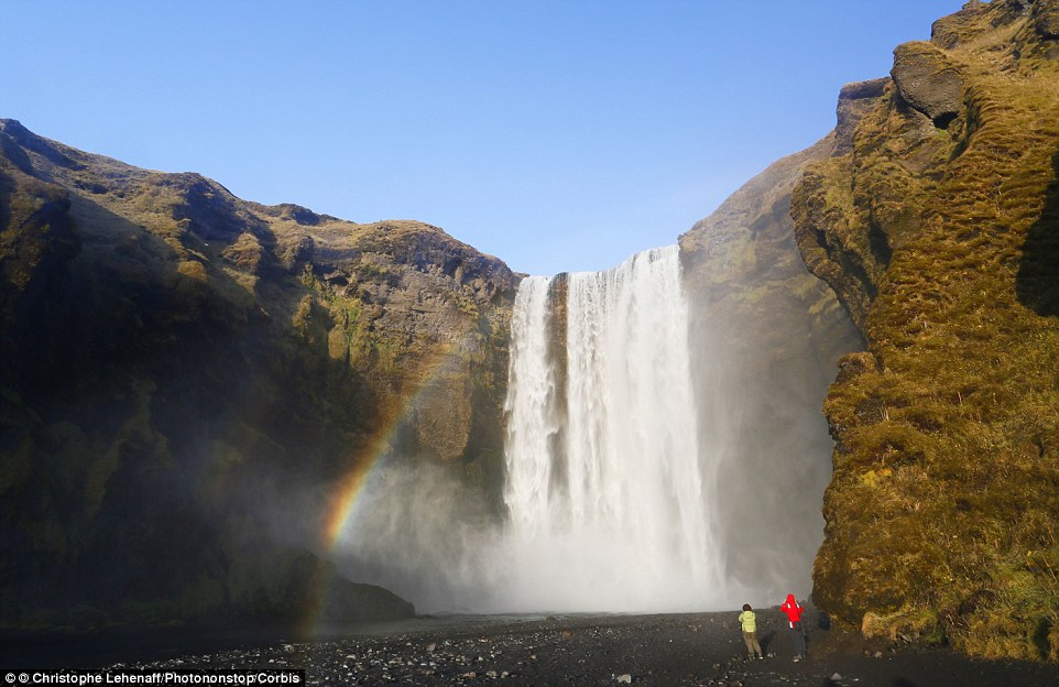 Skógafoss: Due to the amount of spray from the fall, a single or double rainbow is normally visible on sunny days at the 200ft waterfall in Iceland. Popular with film makers, the waterfall was a location for the filming of the Marvel Studios filmThor: The Dark World and The Secret Life of Walter Mitty
