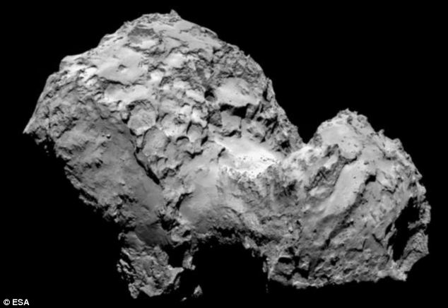 'Hello, Comet!': Esa today released the latest image of comet 67P/Churyumov-Gerasimenko on Twitter.  The tiny probe is now in orbit within 62 miles (100km) of the comet after a decade-long chase through the solar system
