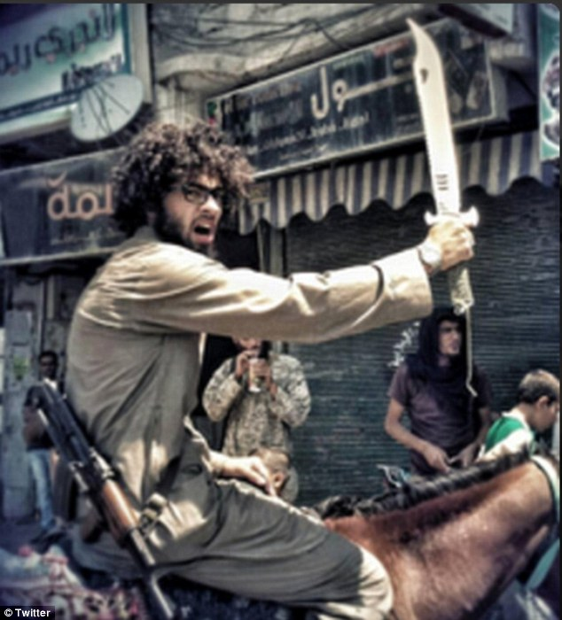 Fanatic: This picture of Yaken brandishing a scimitar on horseback appeared on Twitter