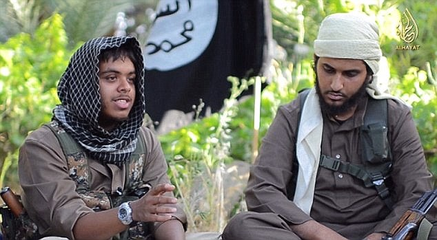 Propaganda: Other young Britons like Reyaad Kahn (left) who appeared in a recruitment video encouraging young men to join ISIS's jihad in Syria and Iraq, alongside Nasser Muthana (right)