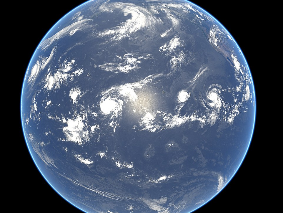 The Pacific Ocean hosts a quartet of tropical cyclones - from left to right - Typhoon Halong, Hurricane Genevieve (which kept travelling west to become Typhoon Genevieve), Hurricane Iselle, and Hurricane Julio