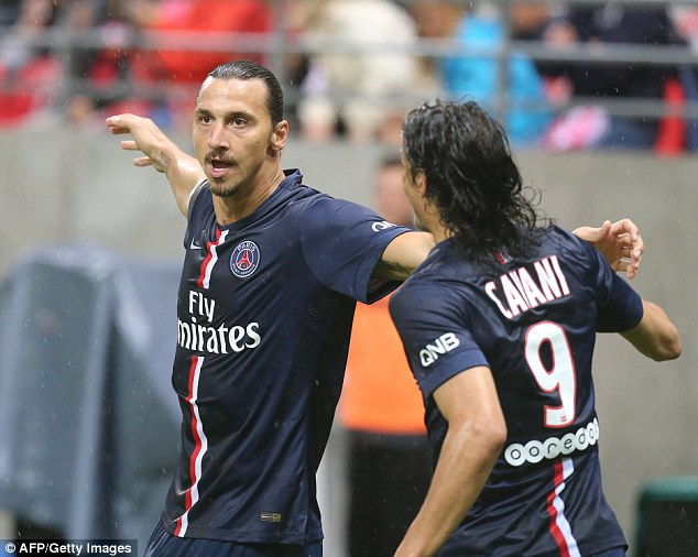 On the score sheet: Zlatan Ibrahimovic celebrates his goal with  teammate Edinson Cavani