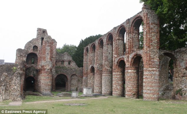 Morning walk: Miss O'Connor was walking in the grounds of St Botolph's Priory in Colchester, Essex, when she had a fit. She said she was 'cross' as there were other people who saw what was happening and did nothing
