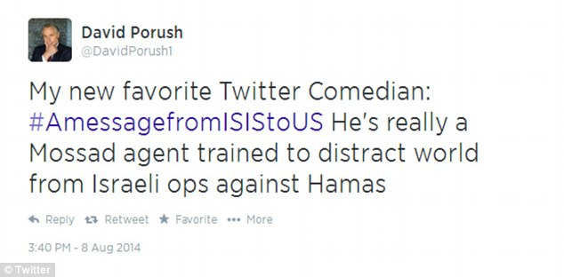 Not likely: One joking observer mocked the ISIS hashtag as a subversive project of Israeli intelligence