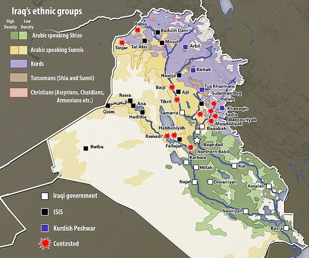Split: There are three main religious groups in Iraq: Shia Arabs, the country's majority, Sunni Arabs and Kurds, who are religiously Sunni but divided by their ethnicity. The is also a minority of Christians scattered across northern Iraq