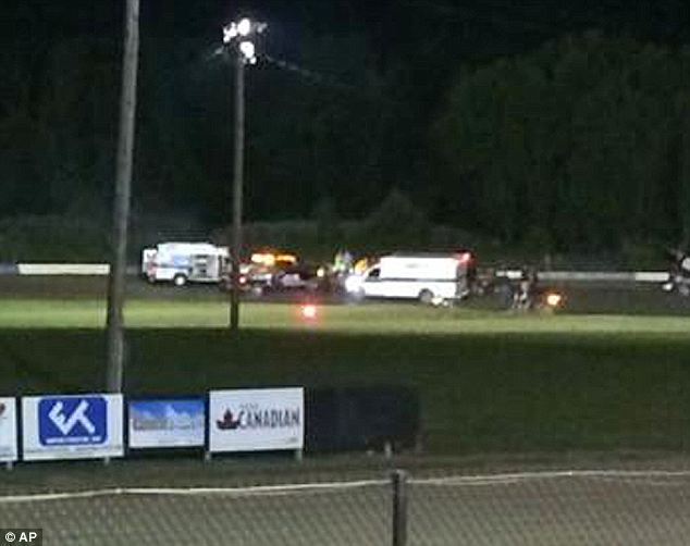 Aftermath: A video of the incident showed Ward Jr flung 50ft down the track after the collision