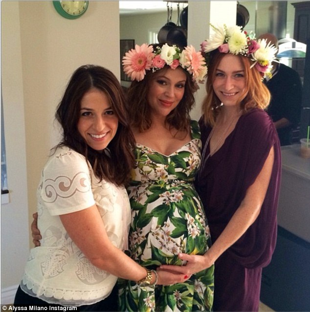 Alyssa Milano 41 Beams As She Attends Her Baby Shower