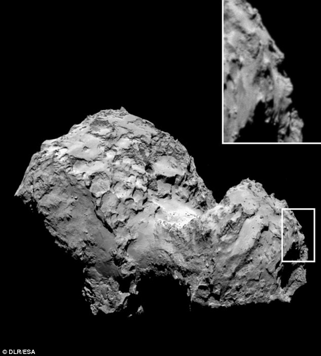 This image has caused excitement among space enthusiasts who believe they can see the outline of a human face on the edge of the comet.The German Aerospace Centre's youth portal, DLR_next, first spotted the face