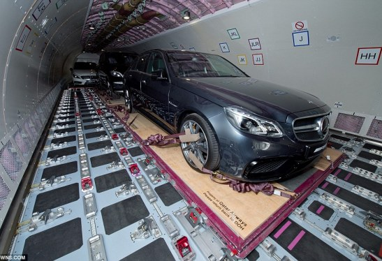 Car owners from Qatar, Saudi Arabia, UAE and Kuwait will happily pay a small fortune - in excess of £20,000 for a return journey - for their metal marvels to be flown around 3,000 miles, and often leave them parked up on the streets of London. At this week's Dubai Airshow, the Qatar Airways Cargo A330-200F freighter showed off its cargo-loading capabilities