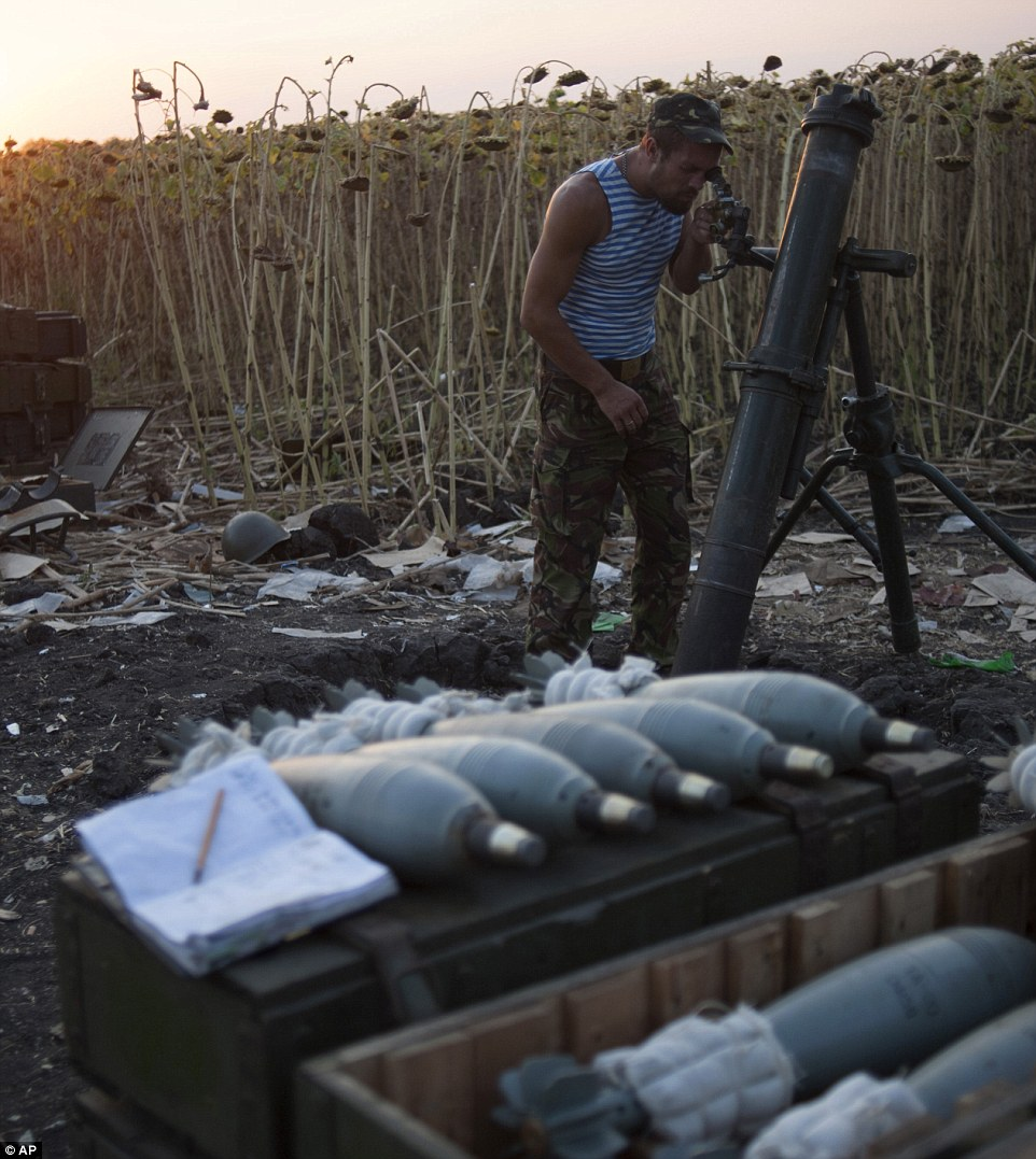 Angled for destruction: A Ukrainian fighter poises a mortar cannon in a field near Illoviask, a town near Donetsk which has also been under fire