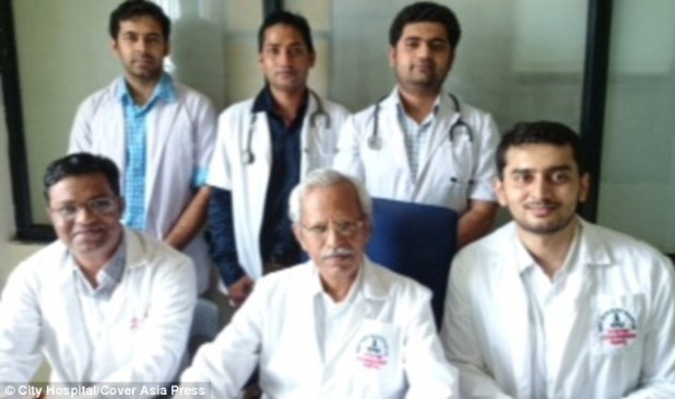 The team of doctors who removed the skeleton from the woman's abdomen