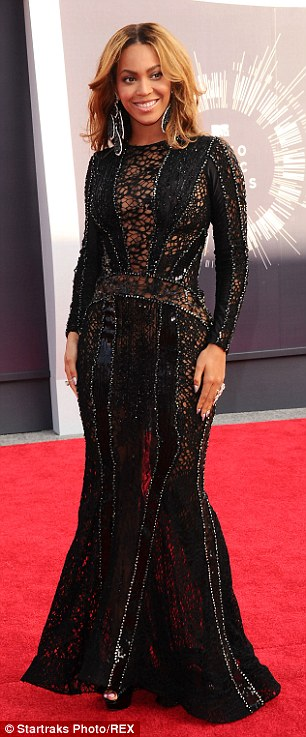 Showstopper: Beyonce showed off her figure in a cut-out black gown