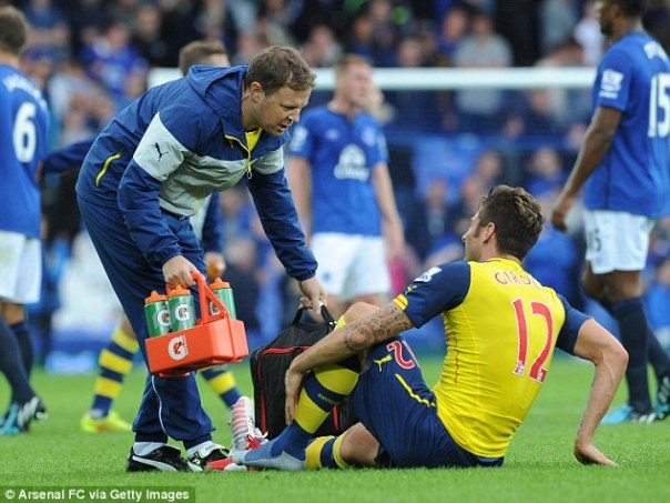 Damage: Arsenal will find out how bad Olivier Giroud's injury is on Monday after the striker underwent a scan