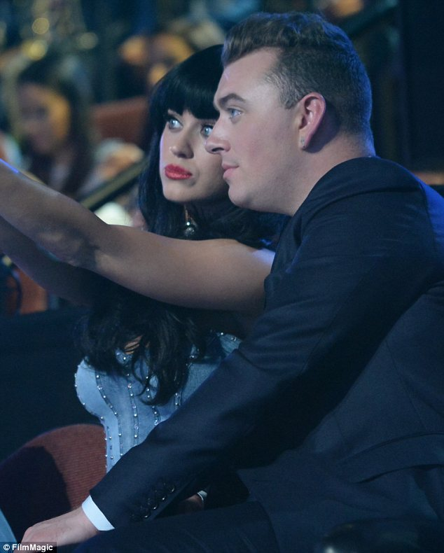 Learning from the best: Sam got selfie tips from Katy Perry and put them to good use later in the night