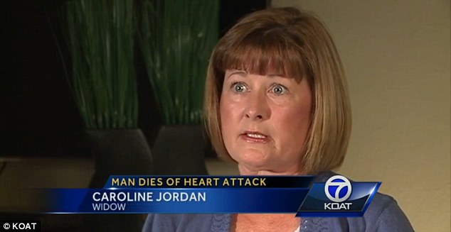 Wife: Caroline Jordan, pictured, claims a flight attendant dismissed a passenger who pointed out the defibrillator could be used