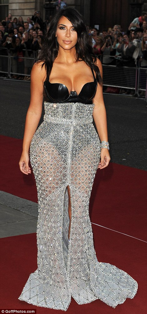 Fierce fashionista: The Keeping Up With The Kardashians star completed her look with an Atsuko Kudo latex bodysuit with Tom Ford heels