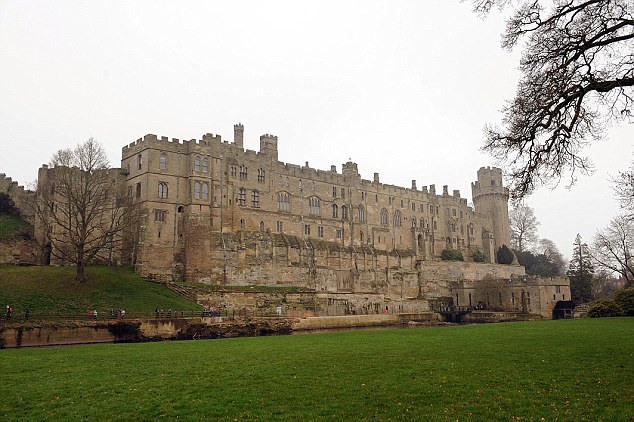 For the girls' first day of 'road school' on Monday, they visited historic Warwick Castle in Warwickshire (pictured)