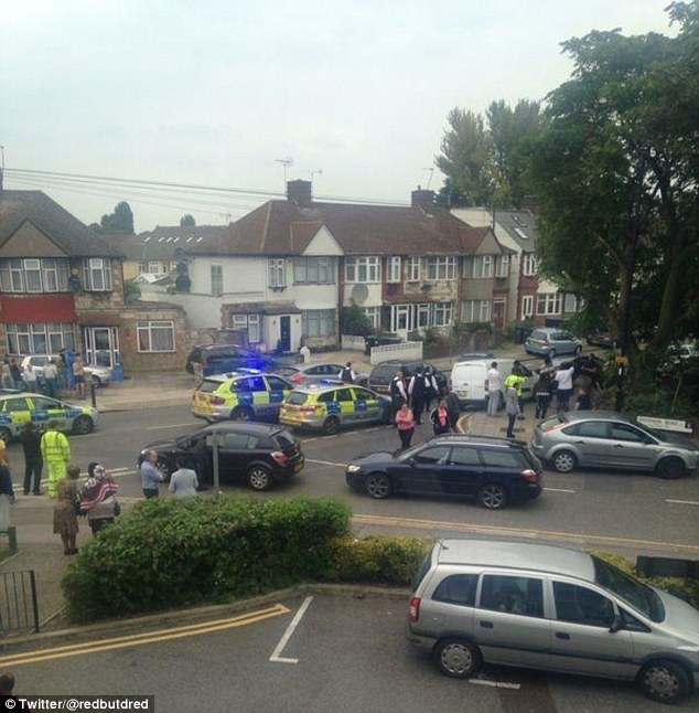Police at the scene: The victim was found at an address in Edmonton, north London, just after 1pm today