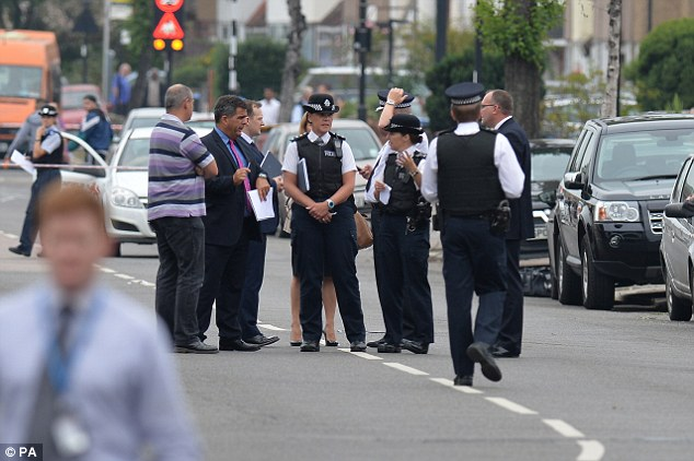 Senior borough police and detectives from the Met's Homicide and Serious Crime Command at the scene
