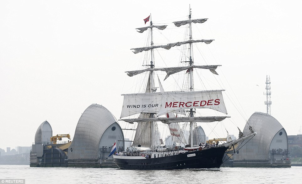 The Tall Ship Mercedes glides past the Thames Barrier on the River Thames. It is London's first regatta for 25 years and the first time a Tall Ships Race has both started and finished in a UK port