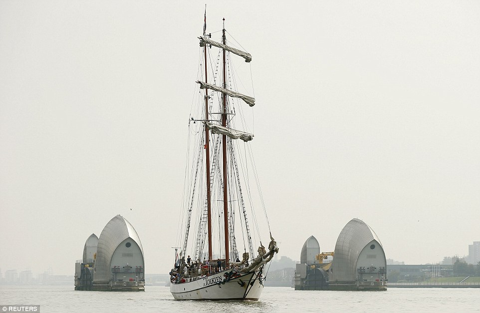 The Tall Ship JR Tolkien is seen sailing sails past the Thames Barrier, one of the several famous spots in London which the ships pass during their journey