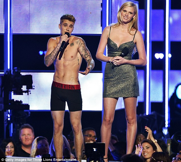 Underwear presenter: Justin introduced Rita as 'one of England's newest sensations'