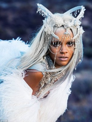Ice princess: Rihanna wore a bejewelled crown for another stunning costume change