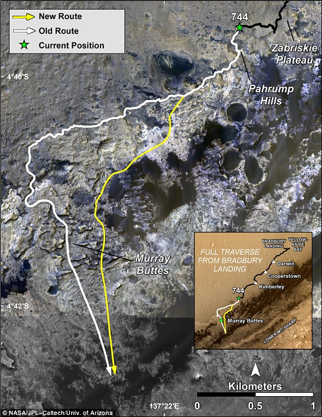 Nasa's Curiosity rover has finally reached the target of its mission, with a 'shortcut' taking it to Mount Sharp quicker than was intended. This image shows the old and new routes of NASA's Mars Curiosity rover and is composed of color strips taken by Nasa's Mars Reconnaissance Orbiter (MRO)