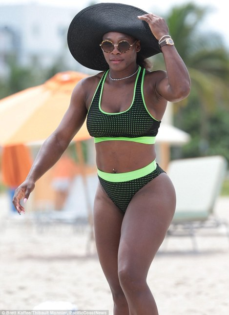 Powerful: Serena shows the muscular form which has made her such a formidable tennis player