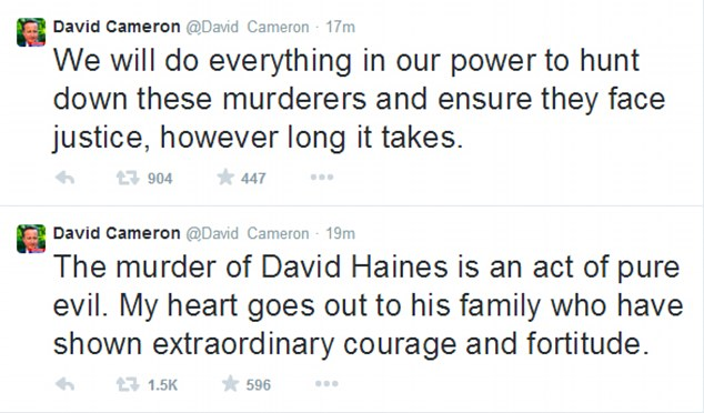 Response: Prime Minister David Cameron tweeted that the murder of David Haines was 'an act of pure evil'