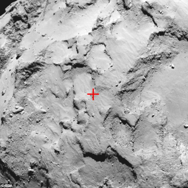 Close-up of Philae's primary landing site J, which is located on the 'head' of Comet 67P/Churyumov-Gerasimenko. Site J offers the minimum risk to the lander in comparison to the other candidate sites, and is also scientifically interesting, with signs of activity nearby