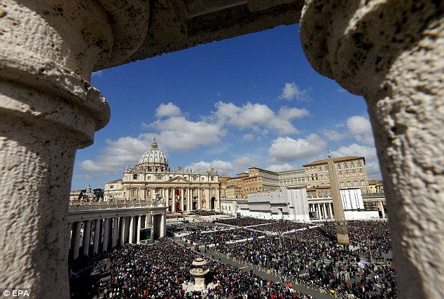 Two Italian citizens were arrested in a grace and favour Jaguar allocated to Cardinal Jorge Melia containing four kilos of cocaine. Pictured, St Peter's Square in the Vatican