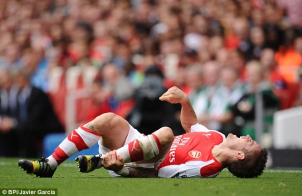 Debuchy suffered the injury in the 81st minute of Arsenal's 2-2 Premier League draw against Manchester City