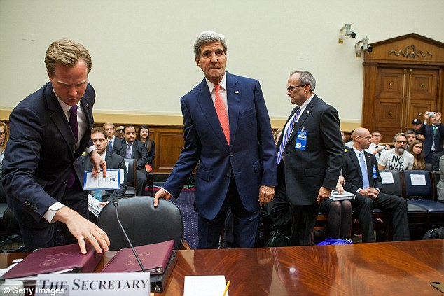 Low blow: The group also called Sec. of State Kerry an 'uncircumcised old geezer' after his comments that the terrorist organization 'did not represent Islam' in front of the House Foreign Affairs Committee