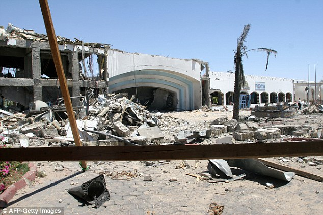 Sharm el-Sheikh has been targeted by terrorists in the past. Pictured is the destroyed Ghazala Garden Hotel after suffering a bomb attack by militants