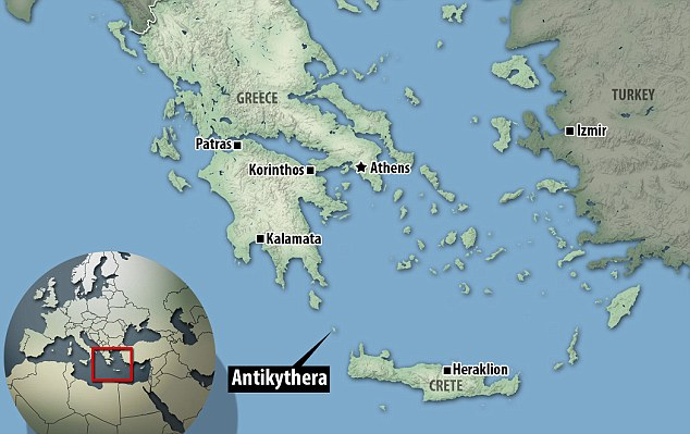Antikythera (highlighted) which now has a population of just 44, was once one of antiquity's busiest trade routes, and a base for Cilician pirates, some of whom once captured and held the young Julius Caesar for ransom. He later had them all captured and crucified