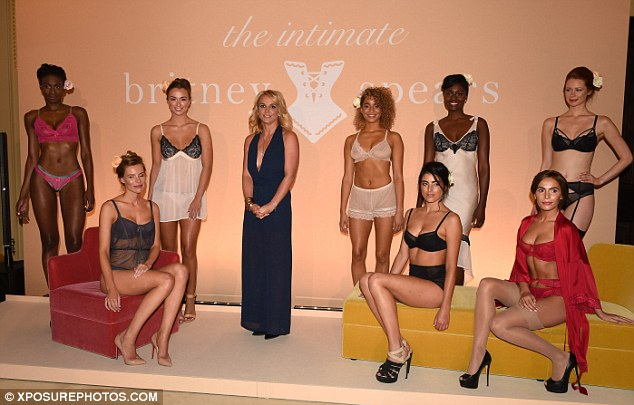 Pillow talk... The 31-year-old mingled with the stunning models who were clad in her racy designs